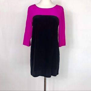 Amanda Uprichard Black and pink Silk Shift Dress